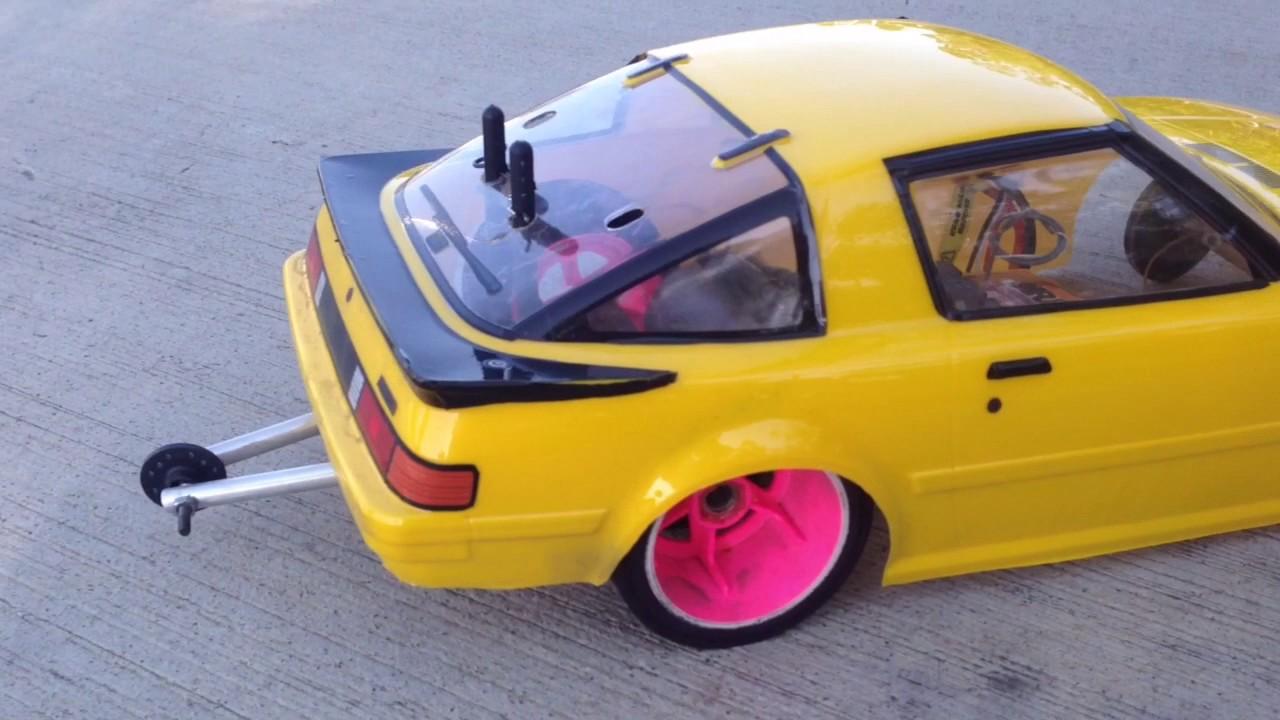 Homemade Rc Drag Car Rx7 Burnout Youtube