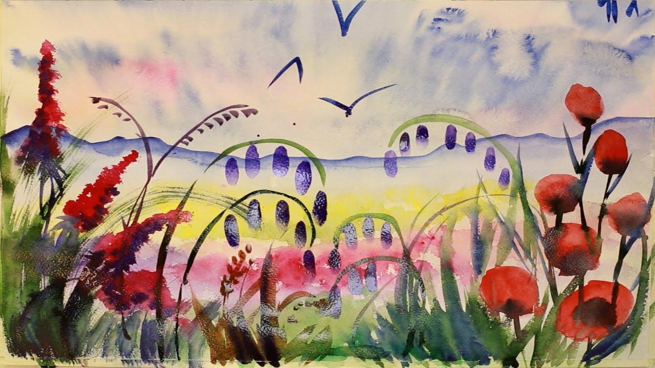 """Курс рисования """"Акварельная живопись"""" Начинающие. Урок 5-2.  Цветочное поле."""
