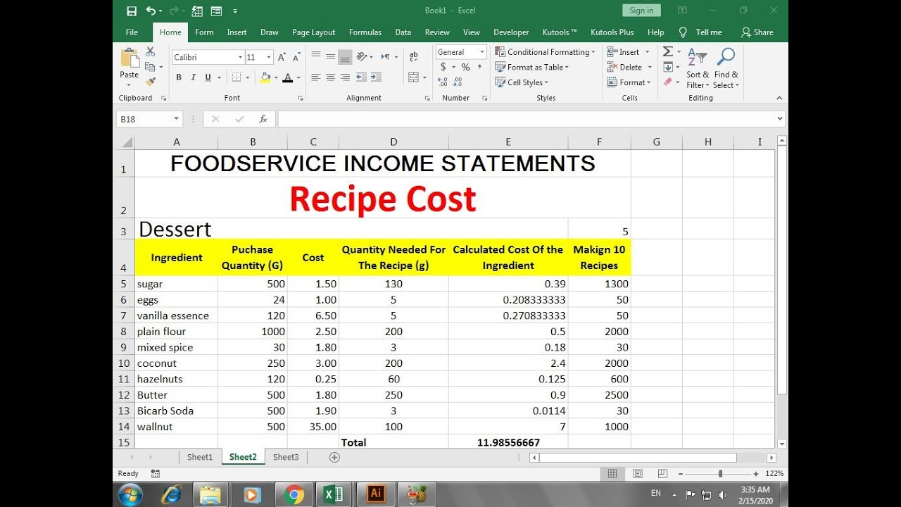 Recipe Cost Calculator Food Cost Spreadsheet In Excel Youtube