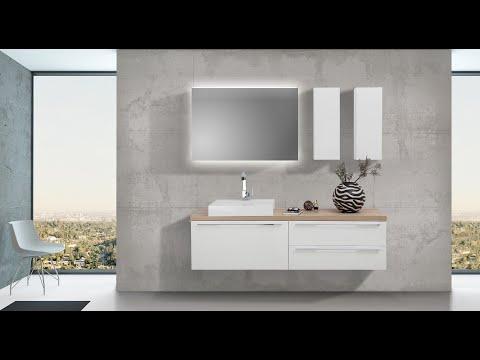 Badezimmer Set mit LED Spiegel Unterschrank und Waschtischplatte nach Mass in Eiche