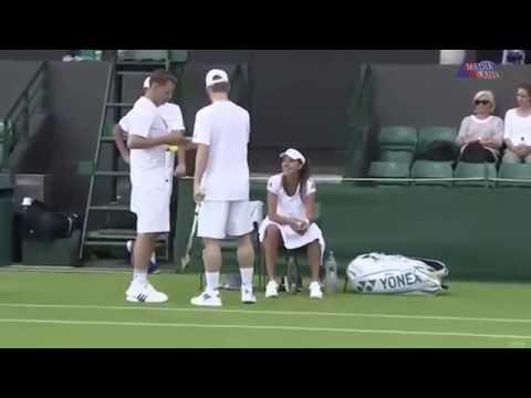 Бастиан Швайнштайгер и Ана Иванович играют в теннис