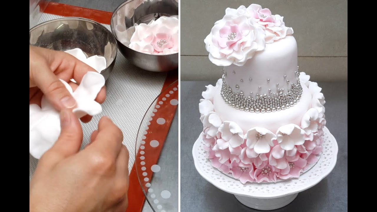 Cake with Pearls u0026 Flowers *Decorar con Fondant by Cakes StepbyStep - YouTube & Cake with Pearls u0026 Flowers *Decorar con Fondant by Cakes StepbyStep ...