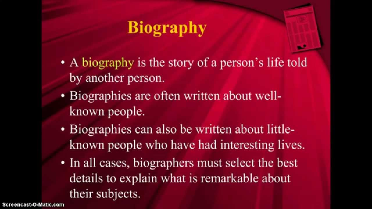 Biography, Autobiography, Memoir  Youtube