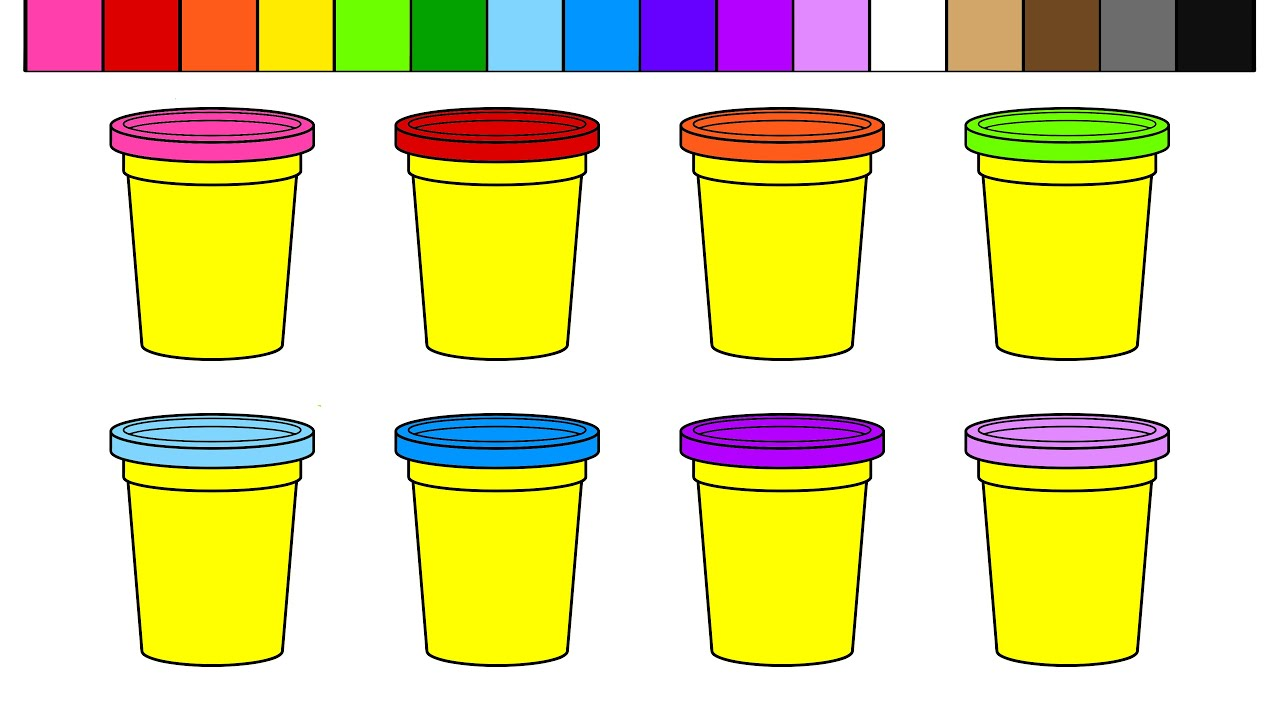 Learn Colors for Kids and Color Play Doh Cans Coloring Page - YouTube