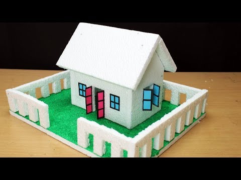 How to Make a Thermocol House with dimensions - Very Easy- School Project