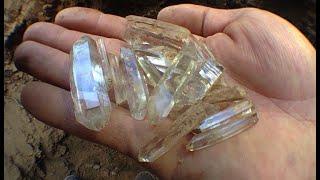 Digging clear quartz crystals
