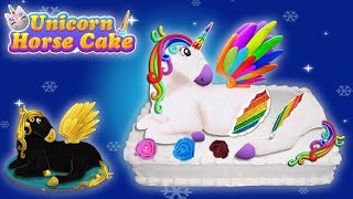 Unicorn Horse Cake Video | Black Unicorn Glitter cake | Rainbow unicorn cake game