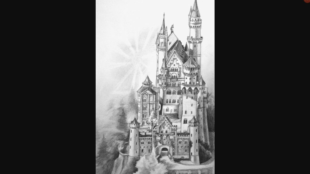 How To Draw A Realistic Castle - YouTube