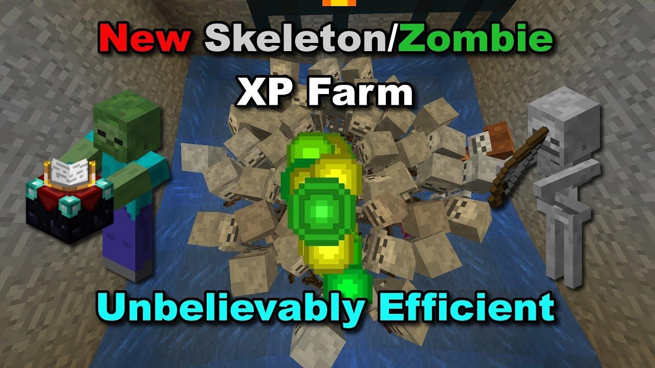 (12.126+) OVERPOWERED SKELETON/ZOMBIE XP FARM - Minecraft Tutorial