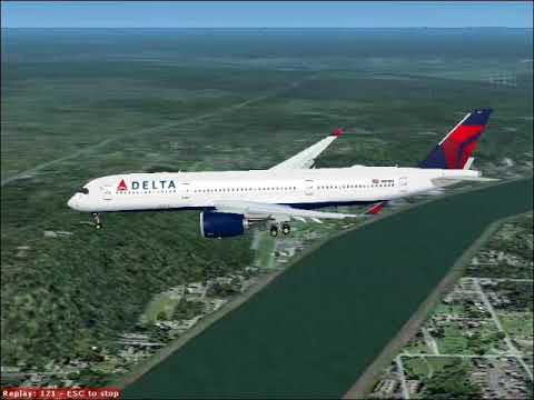 Delta's new A350 doing touch and go at Cincinnatti (FS2004)