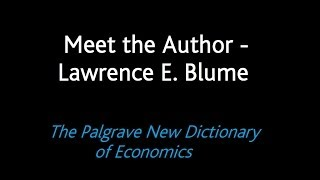 Meet the Author - Lawrence E. Blume