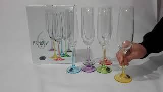 Бокалы для шампанского Bohemia Rainbow 190 мл-6шт - обзор