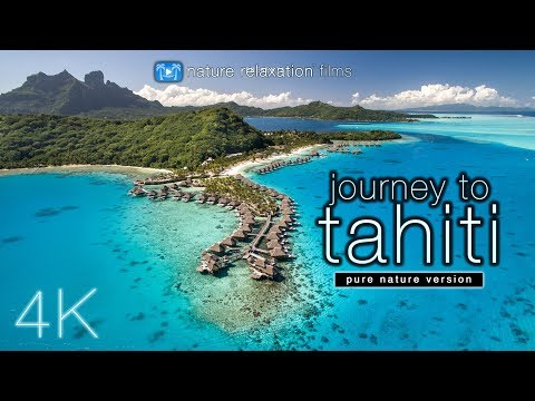 JOURNEY to TAHITI (4K UHD Nature Sounds Only) Whales & Beaches - Ambient Film for Relaxation