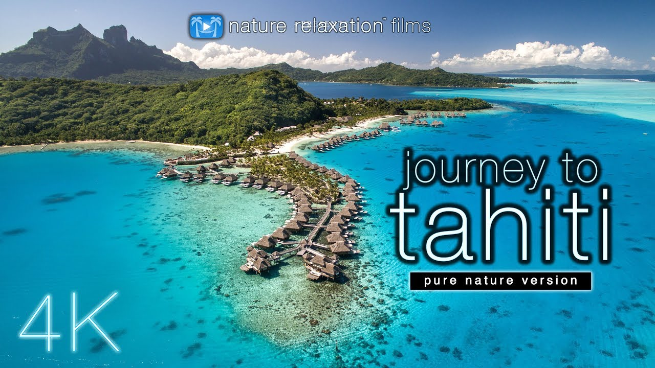 Tropical Island Beach Ambience Sound: JOURNEY To TAHITI (4K UHD Nature Sounds Only) Whales