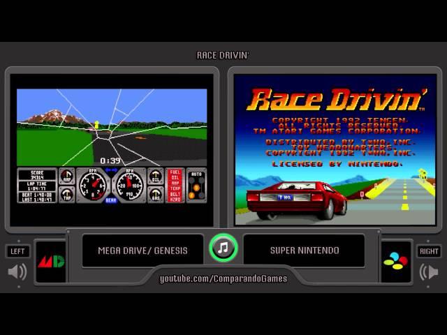 Race Drivin' (Sega Genesis vs Snes) Side by Side Comparison