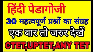 हिंदी पेडागोजी( Hindi pedagogy) for UPTET/ CTET /TGT/ PRT /PGT/ ANY TET