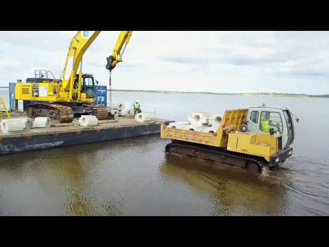 Marine Specialists - Installing an outfall pipe in Belmullet Co Mayo