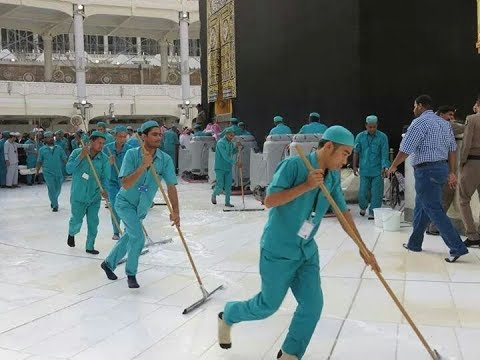 Best Job in the world...Cleaning  of Masjid ul Haram (KAABA Saudi Arabia before Haj 2017)