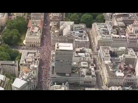Tens of thousands Brexit opponents march in London on second anniversary of vote