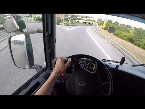 Awesome & Relaxing Scania G490   24m long Truck driving POV, GoPro headview 2017