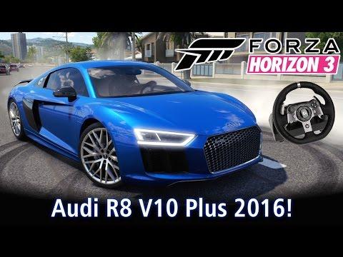 Top Speed: Audi R8 V10 Plus 2016 + Forzavista! Racha com Ferraris!  | Forza Horizon 3 + G920 [PT-BR]