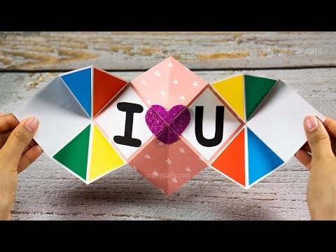 DIY Squash Card Tutorial | How to Make Squash Card for Scrapbook | Valentine's Day Card