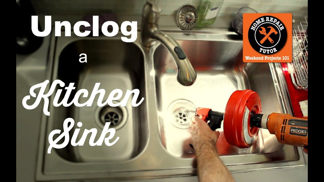 How to Unclog a Kitchen Sink Drain -- by Home Repair Tutor - YouTube