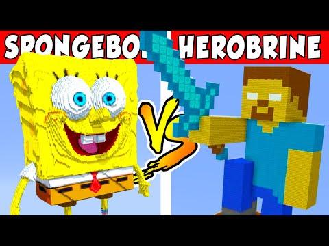 SPONGEBOB VS HEROBRINE – PvZ vs Minecraft vs Smash