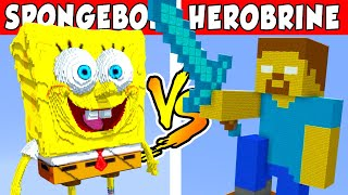 SPONGEBOB VS HEROBRINE – PvZ vs Minecraft vs Smash