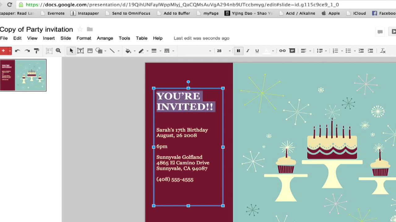 How To Create A Party Invitation In Google Documents Google - Google form design template