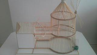 YEL DEĞİRMENİ KUŞ KAFESİ (windmill wooden birdcage made)