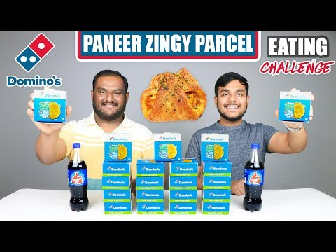 DOMINO'S PANEER ZINGY PARCEL EATING CHALLENGE | Zingy Parcel Eating Competition | Food Challenge
