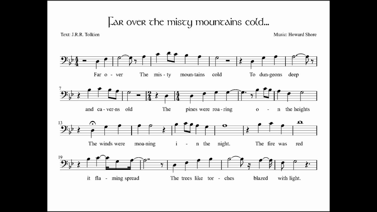 Hobbit gmail theme - The Hobbit Far Over The Misty Mountains Cold Music Sheet Melody 2 0