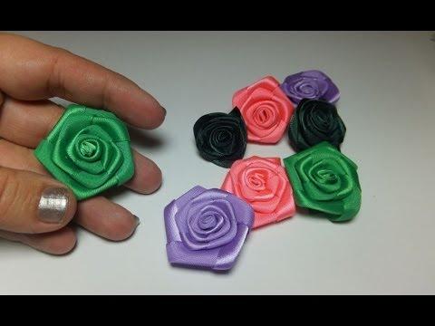 Flores de cinta de raso youtube - Lazos con cintas ...