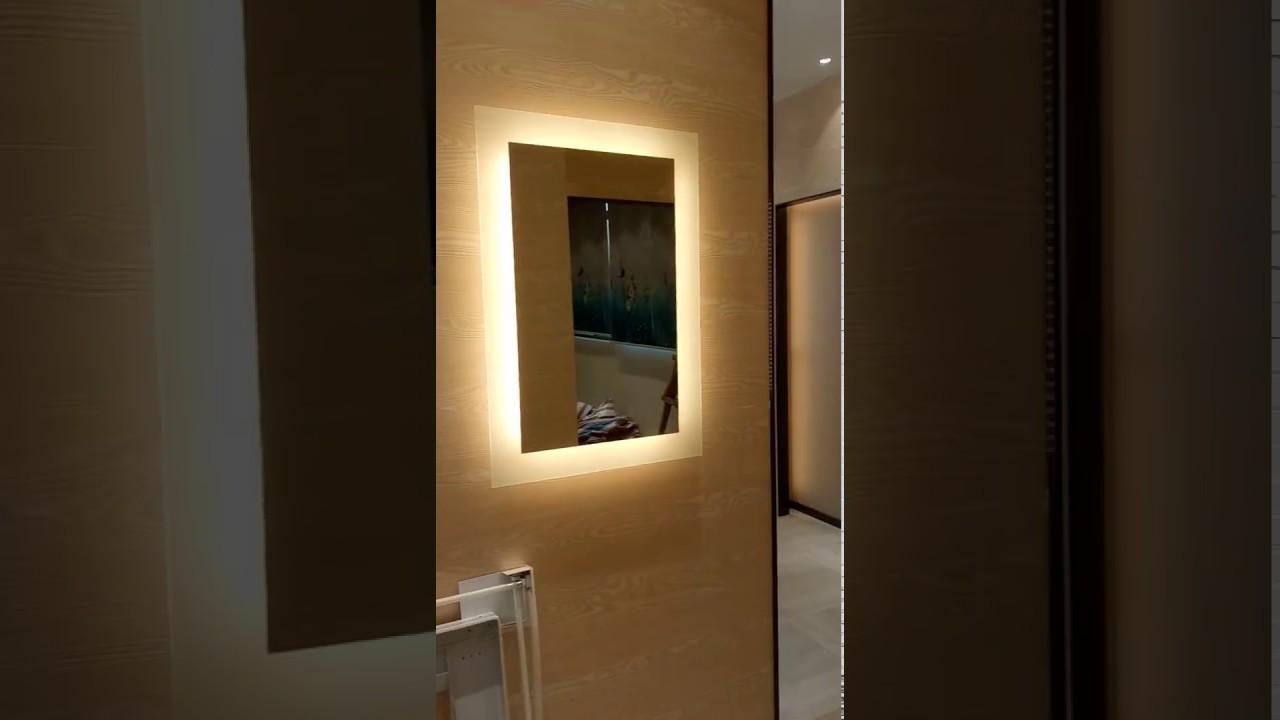 LED Backlit mirror ILLUMINATED LIGHTED MIRROR BATHROOM VANITY LIGHTED MIRROR  YouTube