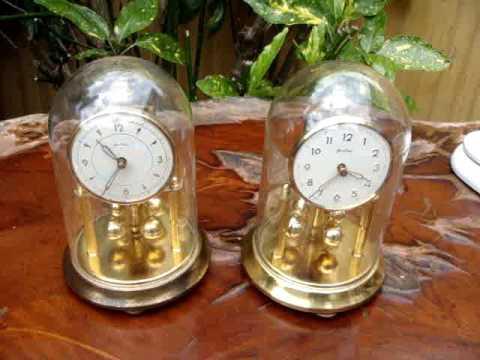 VINTAGE  GERMAN ANNIVERSARY GLASS DOME CLOCK  /  MANTLE CLOCK   SEE VIDEO