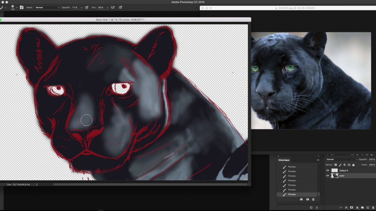 Timelapse Drawing A Black Panther Dessin D Une Panthere Noire