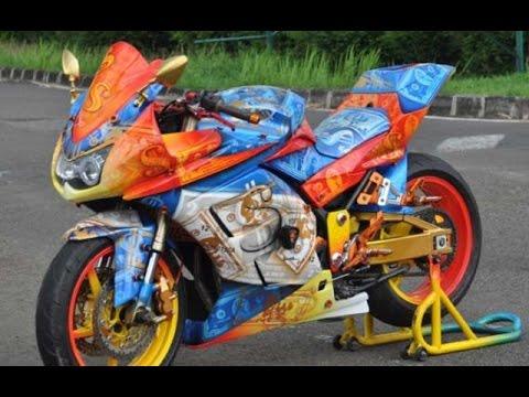 Motor Trend Modifikasi | Video Modifikasi Motor Kawasaki Ninja 250 cc Airbrush Terbaru Part 5