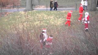 Drunk Santa's Fight at Santacon NYC 2010