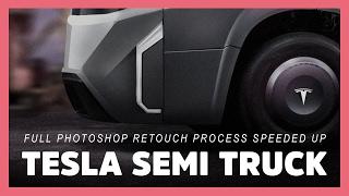 2020 tesla model T semi truck: designers vision (photoshop render speeded up / mercedes space x)