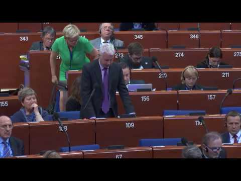 Seán Crowe TD speaking on Cyprus in the Parliamentary Assembly of the Council of Europe