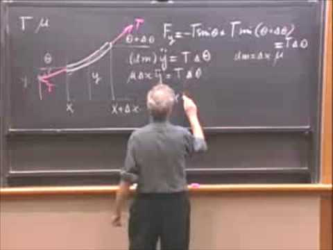 (2:3) The Wave Equation: Derivation (Walter Lewin, MIT)