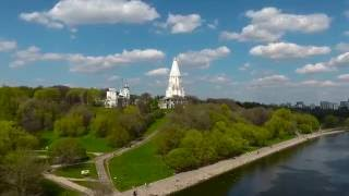 Spring in Moscow from drone. Aerial Phantom 4 footage. Полет над Москвой, Коломенское