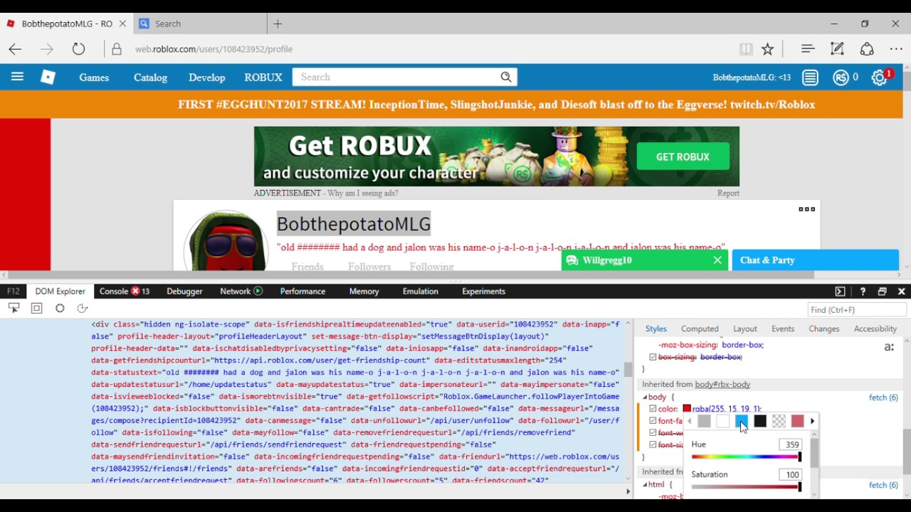 how to hack roblox accounts with inspect element