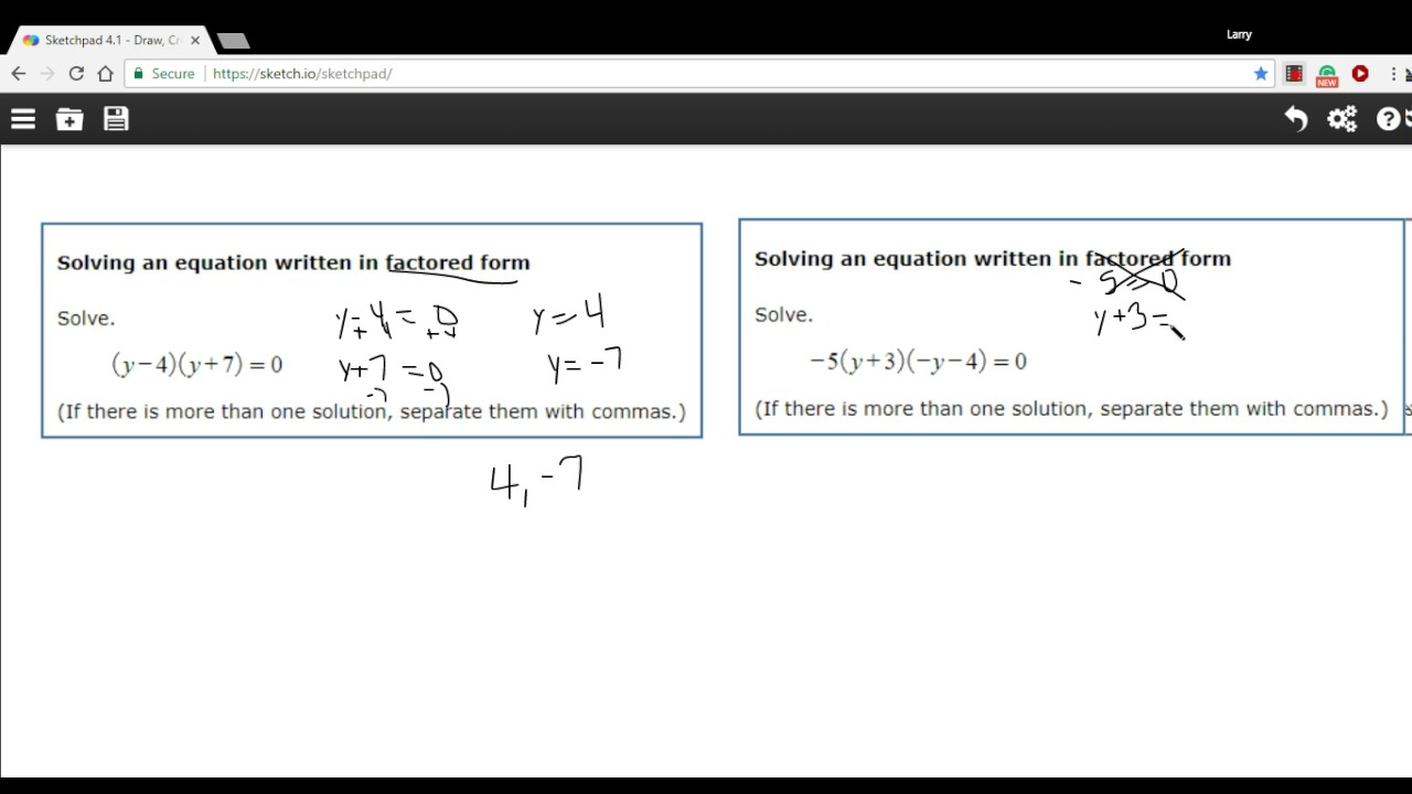 Solving an equation in factored form - YouTube
