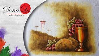 Cruz, Pão e Vinho em Tecido – Sonalupinturas