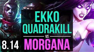 EKKO vs MORGANA (MID) ~ Quadrakill, KDA 15/2/7, Legendary ~ NA Master ~ Patch 8.14