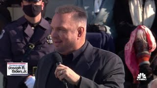 """Country singer garth brooks performs the song """"amazing grace"""" at president joe biden's inauguration. for access to live and exclusive video from cnbc subscri..."""