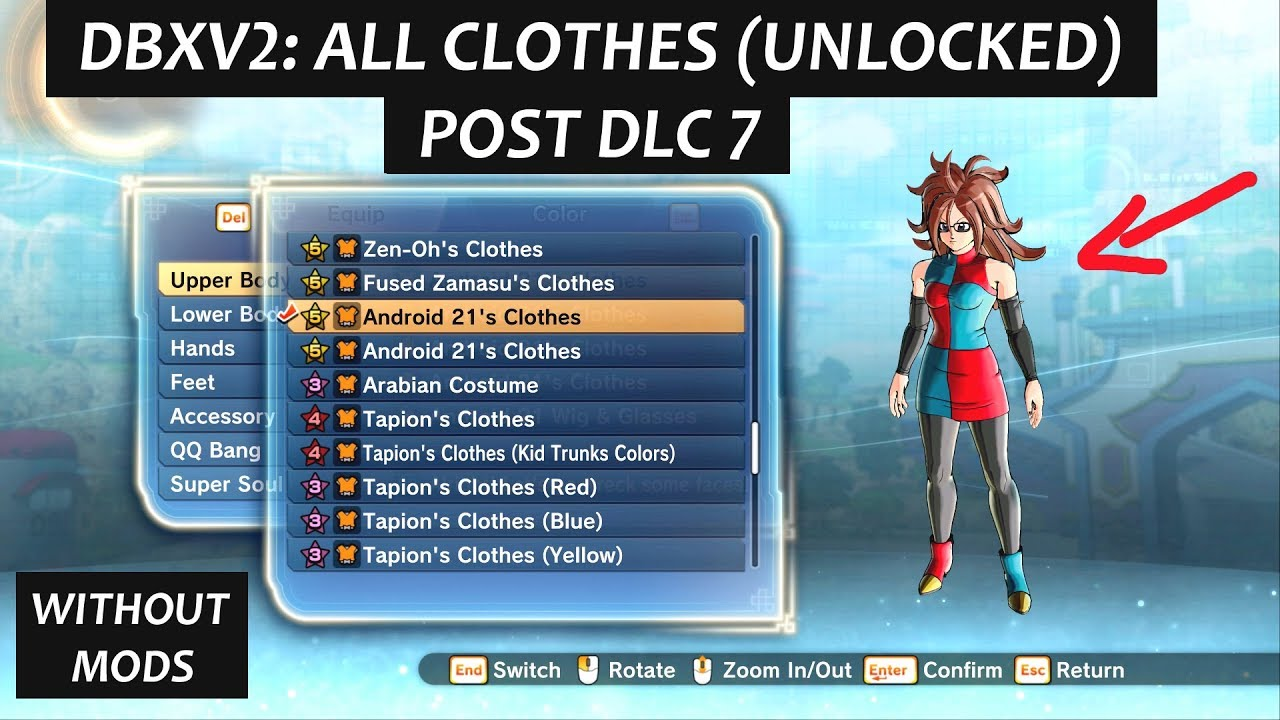 Dragon Ball Xenoverse 2 All Clothes Unlocked Updated Post Dlc 7 Saiyan Male Famale All Clothes