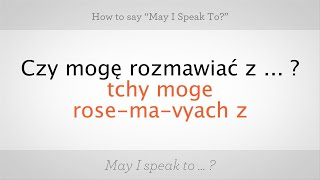 """How to Say """"May I Speak To"""" in Polish   Polish Lessons"""